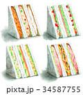 水彩で描いたサンドイッチ4種 34587755