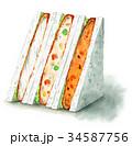 水彩で描いたサンドイッチ(コロッケ・白身魚フライ) 34587756