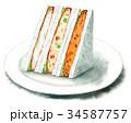水彩で描いたサンドイッチ(コロッケ・白身魚フライ) 34587757