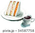 サンドイッチ 水彩 断面のイラスト 34587758