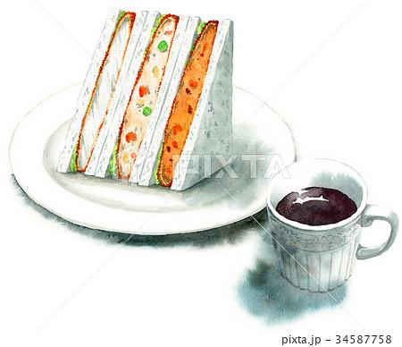 水彩で描いたサンドイッチとコーヒー 34587758