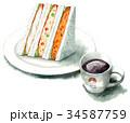 水彩で描いたサンドイッチとコーヒー 34587759