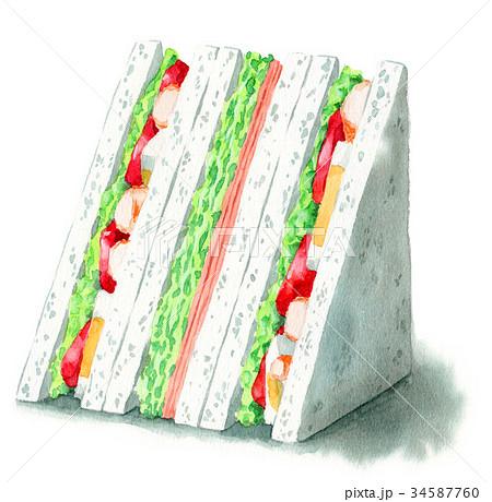 水彩で描いたサンドイッチ(海老たまごトマトとハムレタス) 34587760