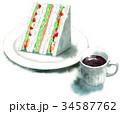 サンドイッチ 水彩 コーヒーのイラスト 34587762