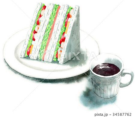 水彩で描いたサンドイッチとコーヒー 34587762