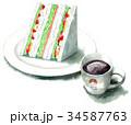 サンドイッチ 水彩 コーヒーのイラスト 34587763