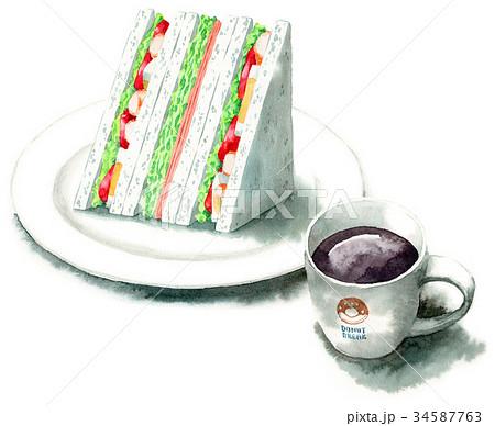 水彩で描いたサンドイッチとコーヒー 34587763