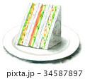 サンドイッチ 水彩 断面のイラスト 34587897