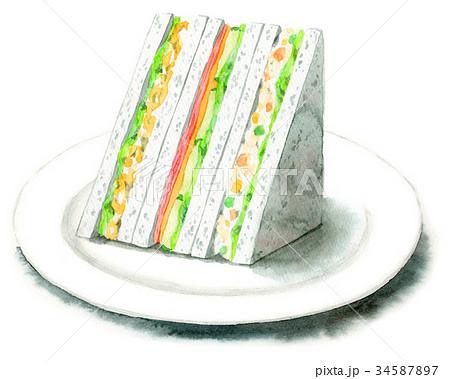 水彩で描いたサンドイッチ(ポテトサラダ・たまご・ハムレタス) 34587897