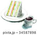 サンドイッチ 水彩 断面のイラスト 34587898