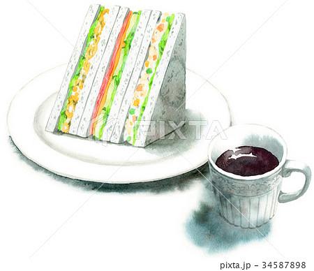 水彩で描いたサンドイッチとコーヒー 34587898