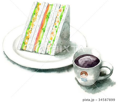 水彩で描いたサンドイッチとコーヒー 34587899