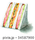 サンドイッチ 水彩 断面のイラスト 34587900
