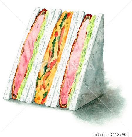 水彩で描いたサンドイッチ(とんかつ・スペインオムレツ) 34587900