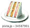 サンドイッチ 水彩 断面のイラスト 34587901