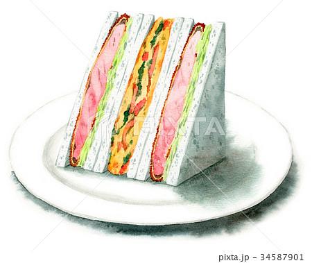水彩で描いたサンドイッチ(とんかつ・スペインオムレツ) 34587901
