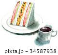サンドイッチ 水彩 断面のイラスト 34587938