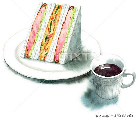 水彩で描いたサンドイッチとコーヒー 34587938