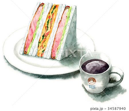 水彩で描いたサンドイッチとコーヒー 34587940