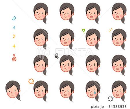 女性 斜め 顔セット 34588933