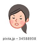 女性 人物 顔のイラスト 34588938