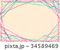 水彩テクスチャー 刺繍 フレーム 34589469