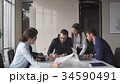 Multi-ethnic business team meeting brainstorming 34590491