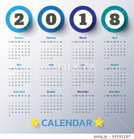 2018 Modern calendar template .Vector/illustration 34595287