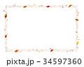 背背景素材_秋のフレーム_枯れ葉と音符 34597360