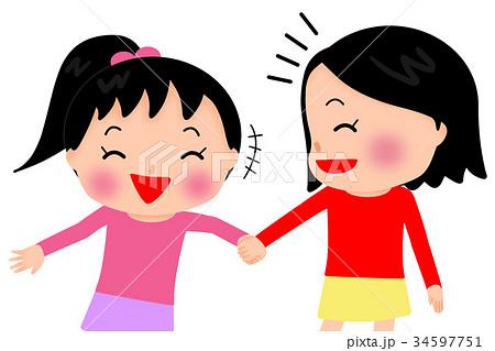 仲良し女の子2人のイラスト素材 34597751 Pixta