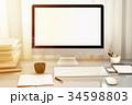 モニター ワークスペース オフィスのイラスト 34598803