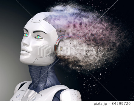 Cyborg with head shattered into dust 34599720