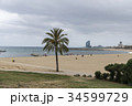 曇りのバルセロナのビーチ 34599729