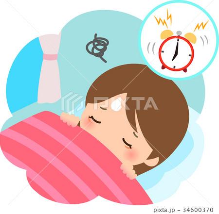 朝起きるのが辛い女性のイラスト素材 34600370 Pixta