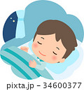 穏やかな表情で眠る若い男性 34600377