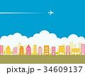 都市風景 春 飛行機 雲 34609137