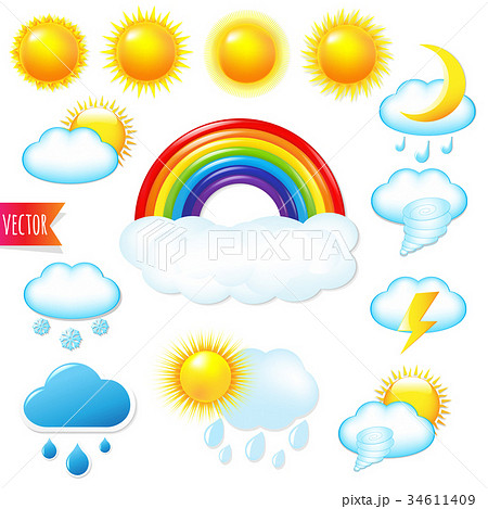 Bright Weather Icons Set 34611409