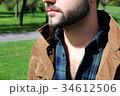 男性のセクシーな髭と胸毛 34612506