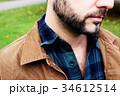 男性のセクシーな髭と胸毛 34612514
