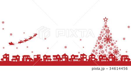 クリスマスイメージ(街並みとサンタクロース) 34614456