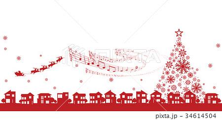 クリスマスイメージ街並みとサンタクロースのイラスト素材 34614504
