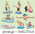 Sticker set with men and women doing sports 34617014