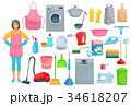 Houshold woman washing, cleaning vector icons 34618207
