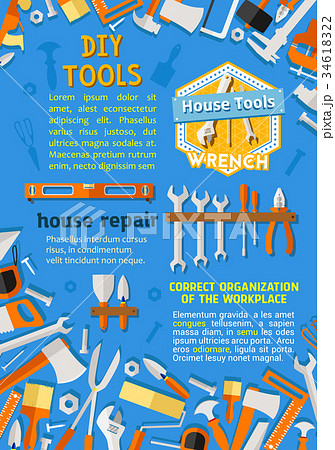 Vector poster of DIY repair handyman work tools 34618322