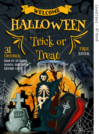 Halloween vector poster for holiday party flyer 34618445