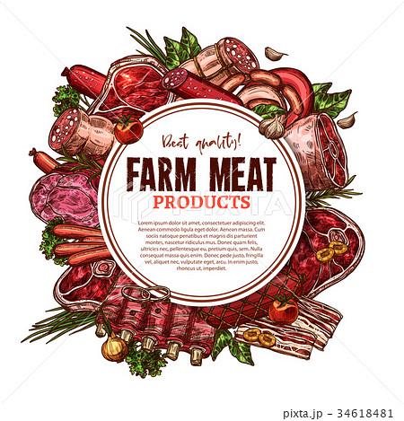 Vector sketch farm fresh meat butchery poster 34618481