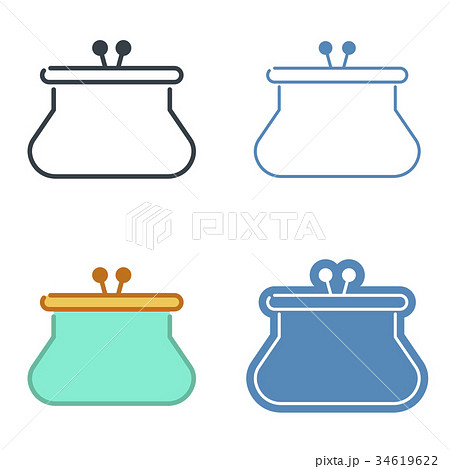 A leather purse vector outline icon set. 34619622