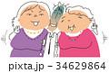 おばさんに挟まれる男性 34629864