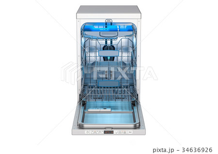 Opened empty dishwasher, 3D rendering 34636926