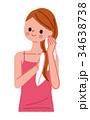 女性 タオルドライ 髪のイラスト 34638738